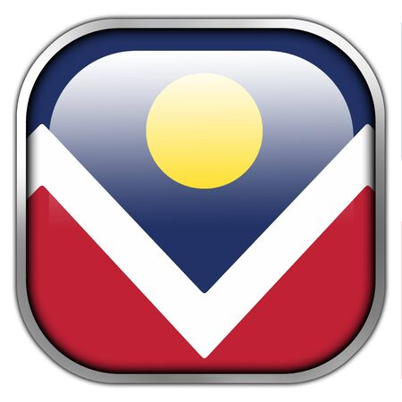 denver colorado: Flag of Denver, Colorado, square glossy button Stock Photo