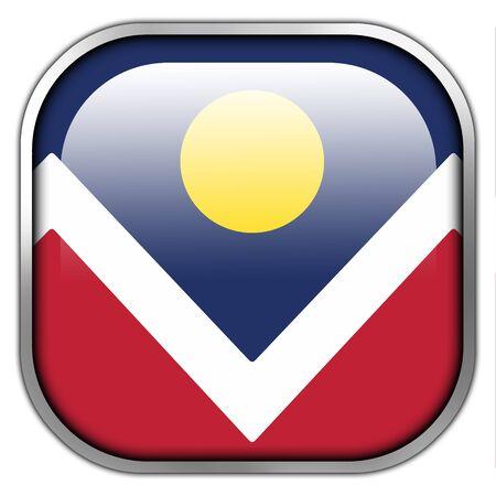 colorado: Flag of Denver, Colorado, square glossy button Stock Photo