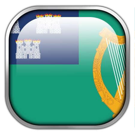 dublin: Flag of Dublin, square glossy button Stock Photo