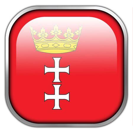gdansk: Flag of Gdansk, Poland, , square glossy button
