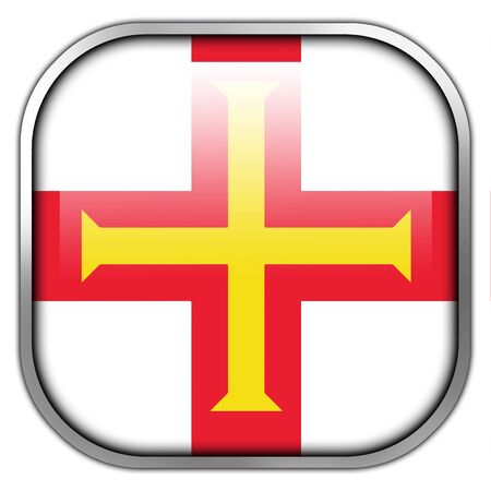 guernsey: Flag of Guernsey, square glossy button