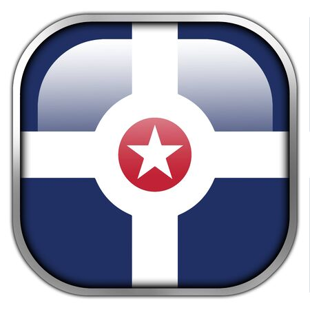 indianapolis: Flag of Indianapolis, Indiana, square glossy button