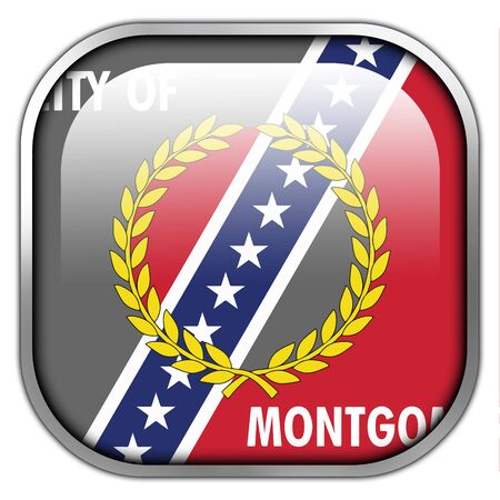 montgomery: Flag of Montgomery, Alabama, square glossy button Stock Photo