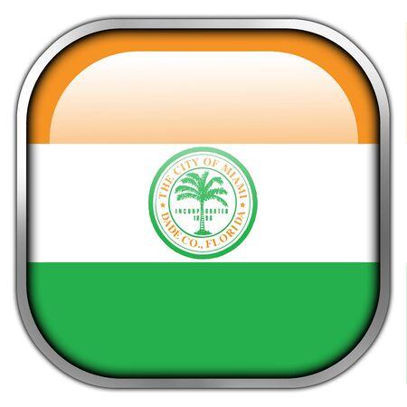 miami florida: Flag of Miami, Florida, square glossy button