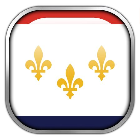 new orleans: Flag of New Orleans, Louisiana, square glossy button Stock Photo