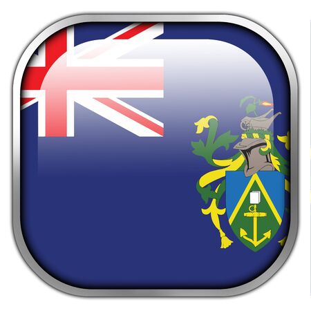 pitcairn: Flag of Pitcairn Islands, square glossy button Stock Photo