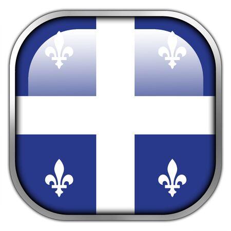 quebec: Flag of Quebec, square glossy button