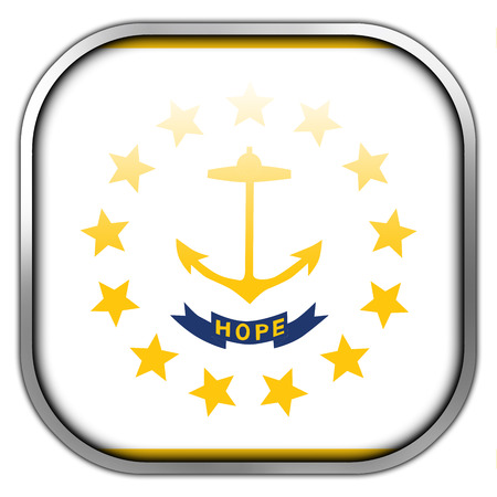new england: Flag of Rhode Island, square glossy button