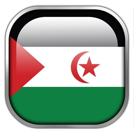 sahrawi arab democratic republic: Flag of Sahrawi Arab Democratic Republic, square glossy button