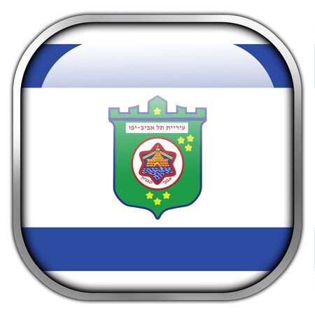 tel: Flag of Tel Aviv, square glossy button