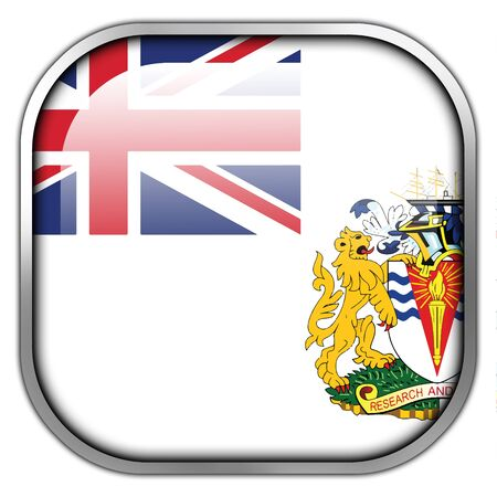antarctic: Flag of the British Antarctic Territory, square glossy button Stock Photo