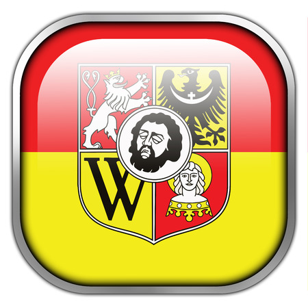 wroclaw: Flag of Wroclaw with Coat of Arms, Poland, square glossy button Stock Photo