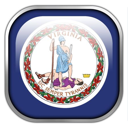 commonwealth: Flag of the Commonwealth of Virginia, square glossy button