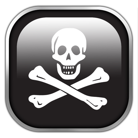 piracy: The traditional Jolly Roger of piracy Flag, square glossy button