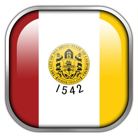 san diego: Flag of San Diego, California, square glossy button