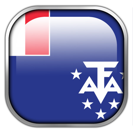 lands: Flag of the French Southern and Antarctic Lands, square glossy button