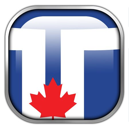 toronto: Flag of Toronto, square glossy button