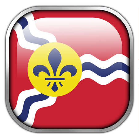 louis: Flag of St. Louis, Missouri, square glossy button