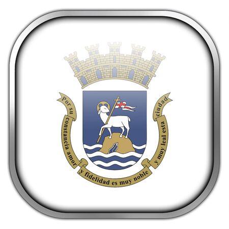 puerto rico: Flag of San Juan, Puerto Rico, square glossy button
