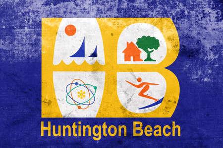 huntington beach: Flag of Huntington Beach, California, USA, with a vintage and old look Stock Photo