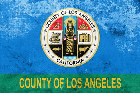 los angeles county: Flag of Los Angeles County, California, USA, with a vintage and old look
