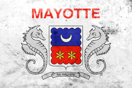 mayotte: Flag of Mayotte, France, with a vintage and old look