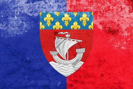 escutcheon: Flag of Paris with Coat of Arms (Escutcheon only), France, with a vintage and old look