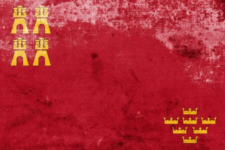 murcia: Flag of Murcia Region, Spain, with a vintage and old look