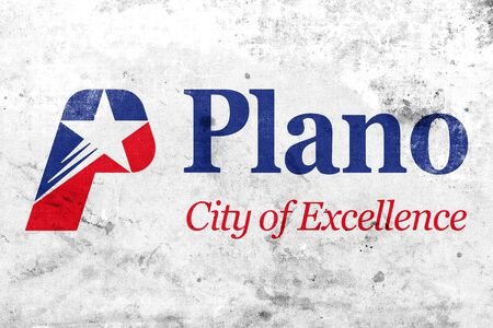 plano: Flag of Plano, Texas, USA, with a vintage and old look
