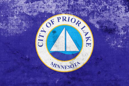 prior lake: Flag of Prior Lake, Minnesota, USA, with a vintage and old look Stock Photo
