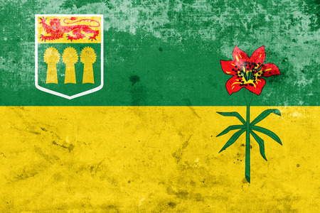 saskatchewan flag: Flag of Saskatchewan Province, Canada, with a vintage and old look Stock Photo