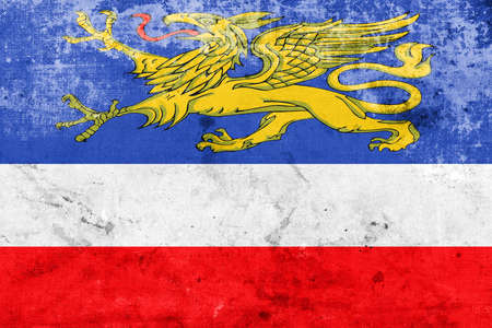 rostock: Flag of Rostock, Germany, with a vintage and old look