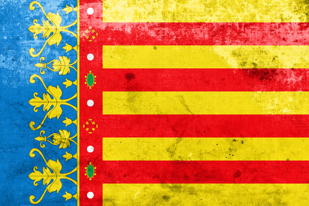 valencian: Flag of Valencian Community, Spain, with a vintage and old look