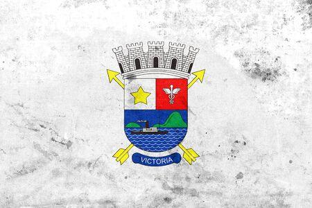 vitoria: Flag of Vitoria, Espirito Santo, Brazil, with a vintage and old look