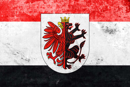 polity: Flag of Kuyavian-Pomeranian Voivodeship with Coat of Arms, Poland, with a vintage and old look