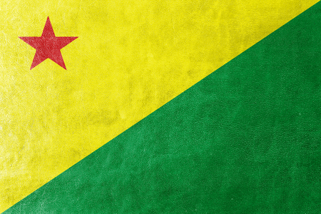 acre: Flag of Acre State, Brazil, painted on leather texture Stock Photo