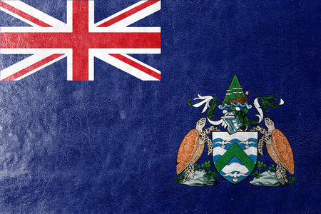 the ascension: Flag of Ascension Island, Canada, painted on leather texture Stock Photo