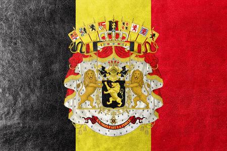 administrativo: Bandera de Bélgica con escudo de armas, pintado en textura de cuero