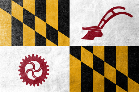 maryland flag: Flag of Baltimore County, Maryland, USA, painted on leather texture