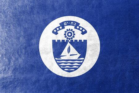 yam israel: Flag of Bat Yam, Israel, painted on leather texture