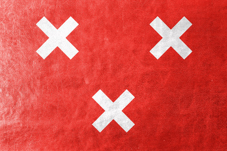 breda: Flag of Breda, Netherlands, painted on leather texture