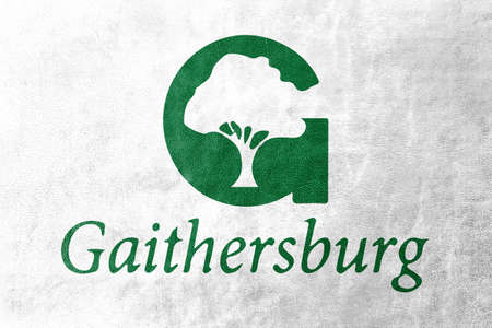 Flag of Gaithersburg, Maryland, USA, painted on leather texture Stock Photo