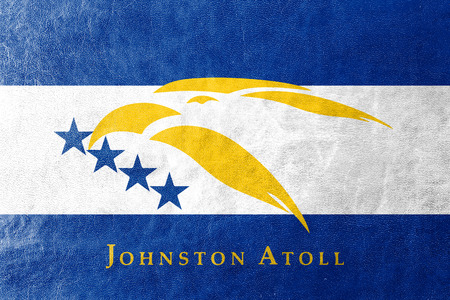 atoll: Flag of Johnston Atoll, USA, painted on leather texture Stock Photo