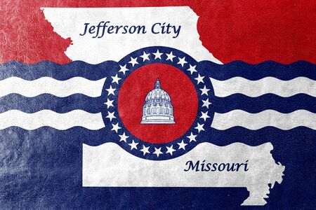 Flag of Jefferson City, Missouri, USA, painted on leather texture Stock Photo
