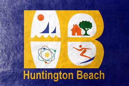 huntington beach: Flag of Huntington Beach, California, USA, painted on leather texture Stock Photo