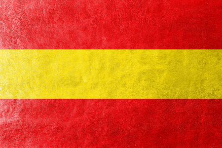 karlsruhe: Flag of Karlsruhe, Germany, painted on leather texture Stock Photo