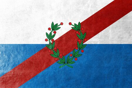 polity: Flag of La Rioja Province, Argentina, painted on leather texture Stock Photo