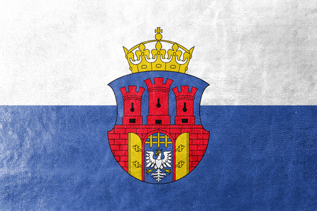 polity: Flag of Krakow with Coat of Arms, Poland, painted on leather texture Stock Photo