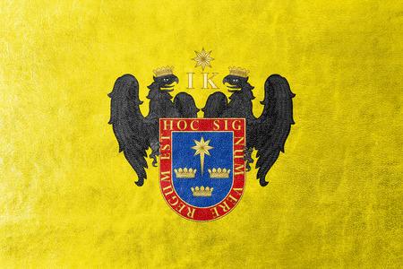 bandera de peru: Bandera de Lima, Perú, pintada en textura de cuero Foto de archivo
