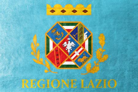 administrativo: Bandera de Lazio, Italia, pintado en textura de cuero